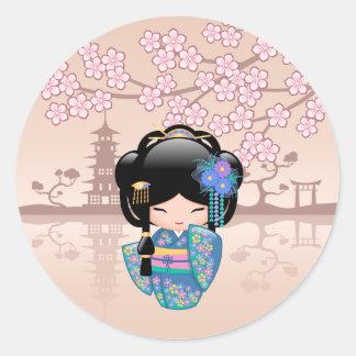 Keiko Kokeshi Doll - Blue Kimono Geisha Girl Classic Round Sticker