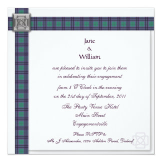 Keith Modern Tartan Engagement Party Invitation