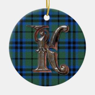 Keith Plaid Monogram ornament