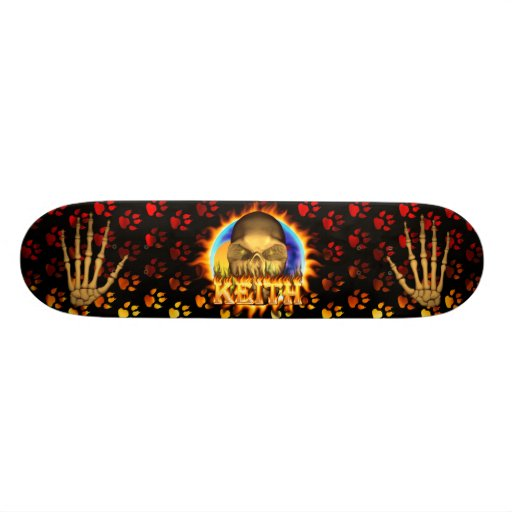 Keith skull real fire and flames skateboard design