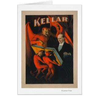 Kellar Devil and Demons with Magic Book Poster Card