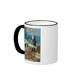 Kellar Levitation Vintage Magician Advertisement Ringer Mug