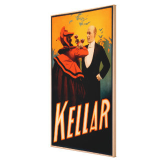 Kellar Magician Drinking Wine with the Devil Stretched Canvas Prints