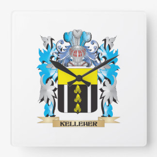 Kelleher Coat of Arms - Family Crest Square Wall Clock