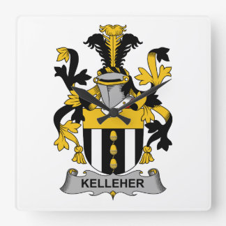 Kelleher Family Crest Square Wall Clock