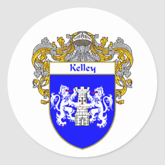 Kelley Coat of Arms (Mantled) Round Sticker