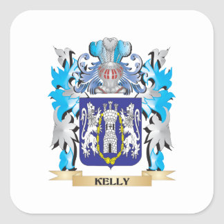 Kelly Coat of Arms - Family Crest Square Sticker