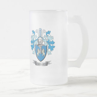 Kelly Coat of Arms Frosted Glass Beer Mug