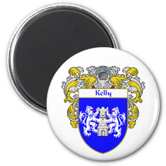 Kelly Coat of Arms (Mantled) 6 Cm Round Magnet