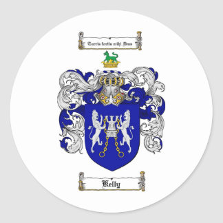 KELLY FAMILY CREST -  KELLY COAT OF ARMS ROUND STICKER