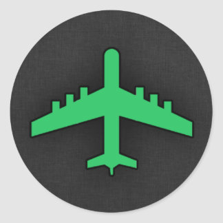 Kelly Green Airplane Round Stickers
