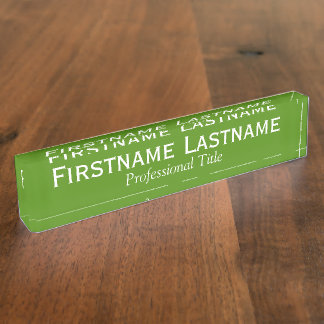 Kelly Green and White Name and Professional Title Name Plate