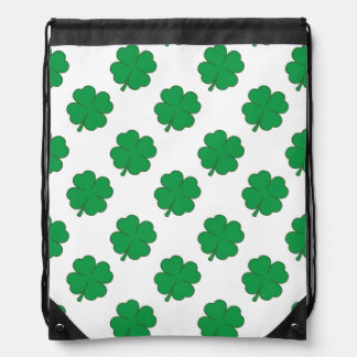 Kelly Green and White Shamrock, 4-Leaf Clover Drawstring Bag