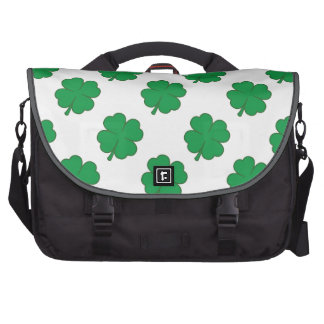 Kelly Green and White Shamrock 4-Leaf Clover Laptop Bags