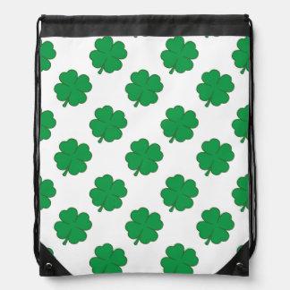 Kelly Green and White Shamrock 4-Leaf Clover Drawstring Bag