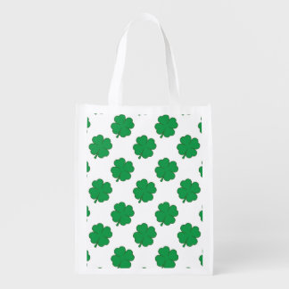 Kelly Green and White Shamrock 4-Leaf Clover Grocery Bags