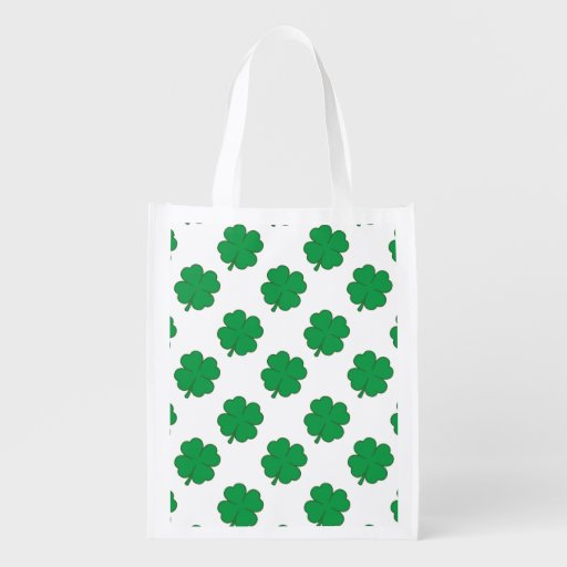 Kelly Green and White Shamrock, 4-Leaf Clover Grocery Bags