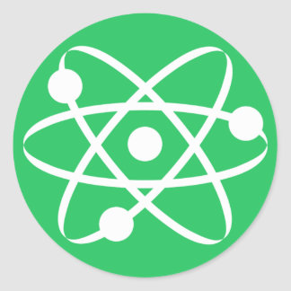 Kelly Green Atom Classic Round Sticker
