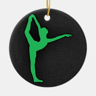 Kelly Green Ballet Dancer Round Ceramic Decoration