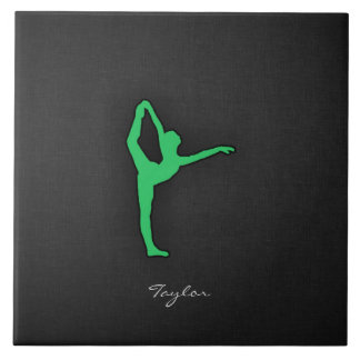 Kelly Green Ballet Dancer Ceramic Tiles
