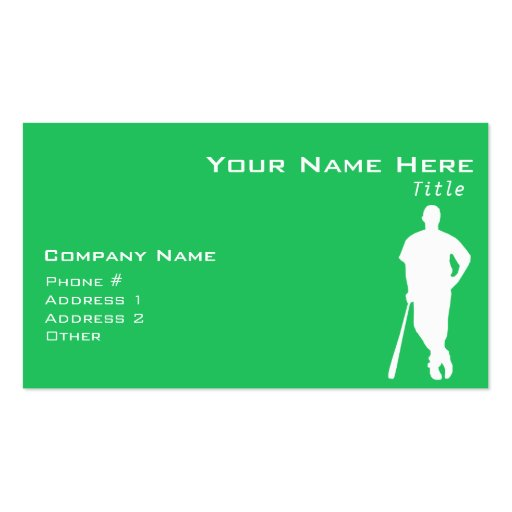 Kelly Green Baseball Player Business Cards