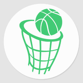 Kelly Green Basketball Classic Round Sticker