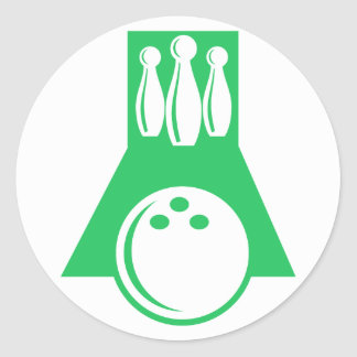 Kelly Green Bowling Round Stickers