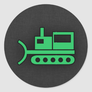 Kelly Green Bulldozer Classic Round Sticker