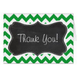 Kelly Green Chevron Stripes; Chalkboard look Greeting Cards