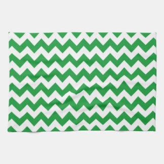 Kelly Green Chevron Stripes Tea Towel