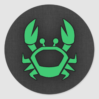 Kelly Green Crab Classic Round Sticker