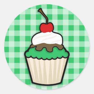 Kelly Green Cupcake Round Sticker