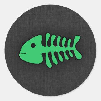 Kelly Green Fish Bones Round Sticker
