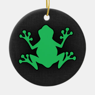 Kelly Green Frog Round Ceramic Decoration