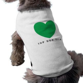 Kelly Green Graphic Heart Design B10 Sleeveless Dog Shirt