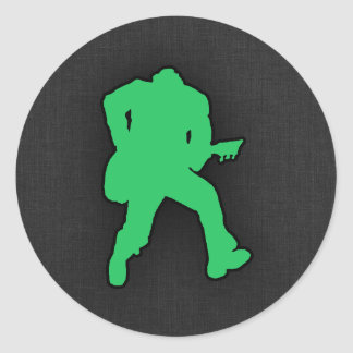 Kelly Green Guitar Player Sticker