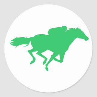 Kelly Green Horse Racing Classic Round Sticker