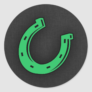 Kelly Green Horseshoe Round Sticker