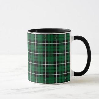 Kelly green Irish green white/black stripe plaid Mug