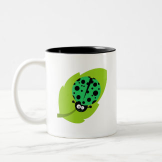 Kelly Green Ladybug Two-Tone Coffee Mug