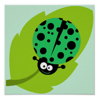 Kelly Green Ladybug Posters