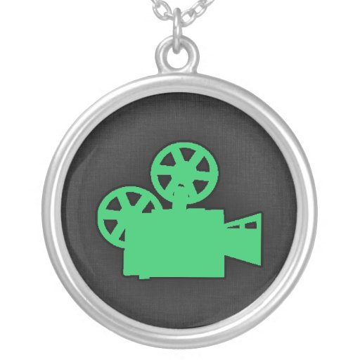 Kelly Green Movie Camera Personalized Necklace