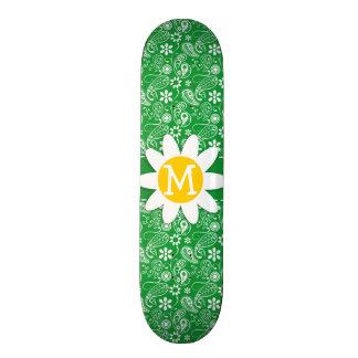 Kelly Green Paisley Daisy Skateboard Deck