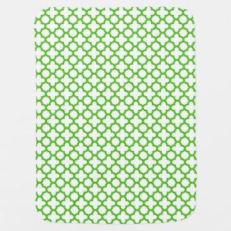 Kelly Green Quatrefoil Pattern Baby Blanket
