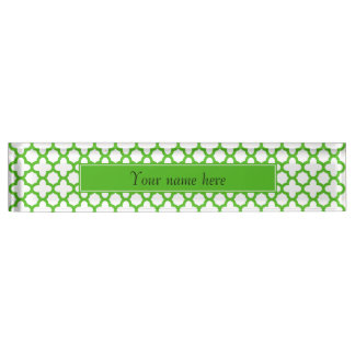Kelly Green Quatrefoil Pattern Desk Name Plates