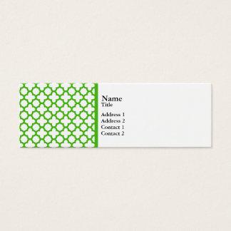 Kelly Green Quatrefoil Pattern Mini Business Card