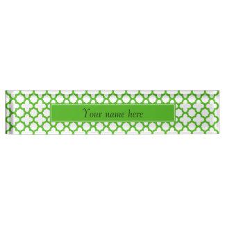 Kelly Green Quatrefoil Pattern Nameplate