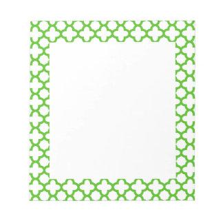 Kelly Green Quatrefoil Pattern Notepad