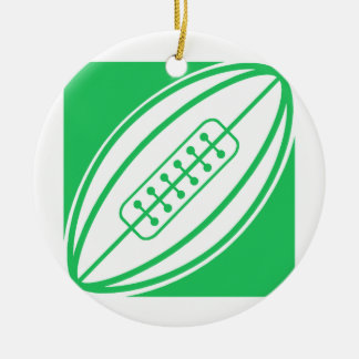 Kelly Green Rugby Round Ceramic Decoration