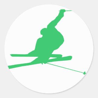 Kelly Green Snow Ski Round Sticker